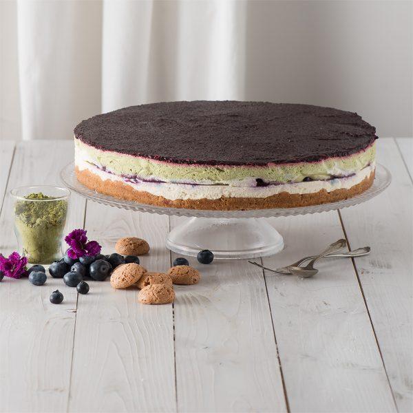 Marusin Heidelbeer-Mascarpone-Kuchen mit japanischem Bio-Matcha und Bourbon-Vanille
